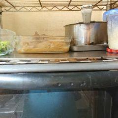 オーブンの上で保温